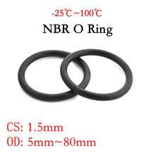 Joint en caoutchouc Nitrile butadiène   Joint torique NBR épaisseur CS 1.5mm OD 5 ~ 80mm, caoutchouc d'espacement, résistance à l'huile, rondelle ronde noire 10 pièces