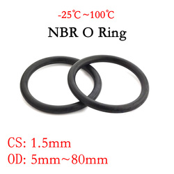 10pc NBR O Ring Seal Gasket Thickness CS 1.5mm OD 5~80mm Nitrile Butadiene Rubber Spacer Oil Resistance Washer Round Shape Black