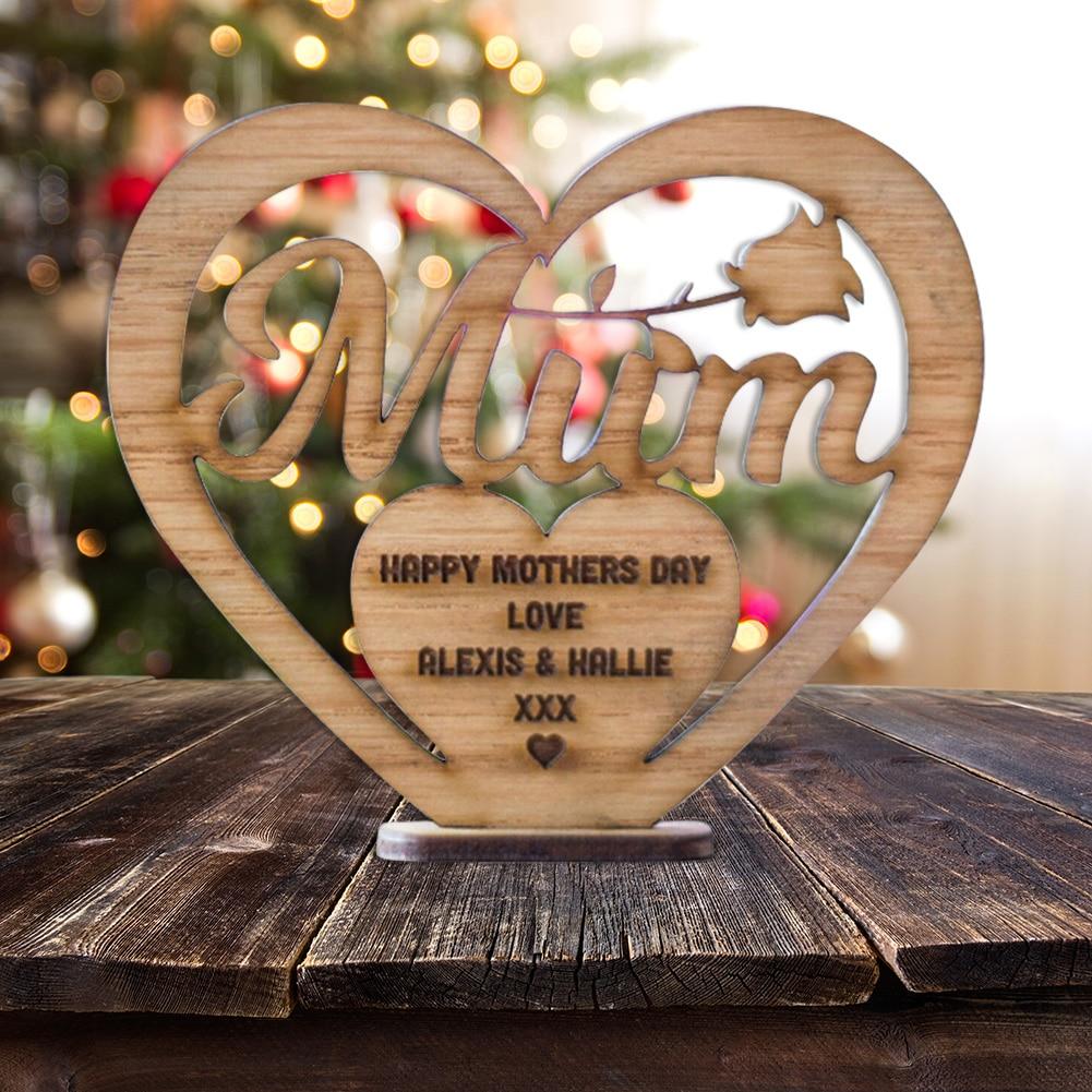 22cm Chrome Heart On Wooden Stand Love Heart Sculpture Wedding Gift Ornament