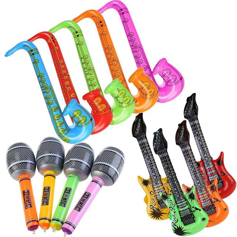 12Pcs Inflatable Guitar Saxophone Microphone Balloons Fun Musical Instruments Accessories For Birthday Party Supplies Favors Pho