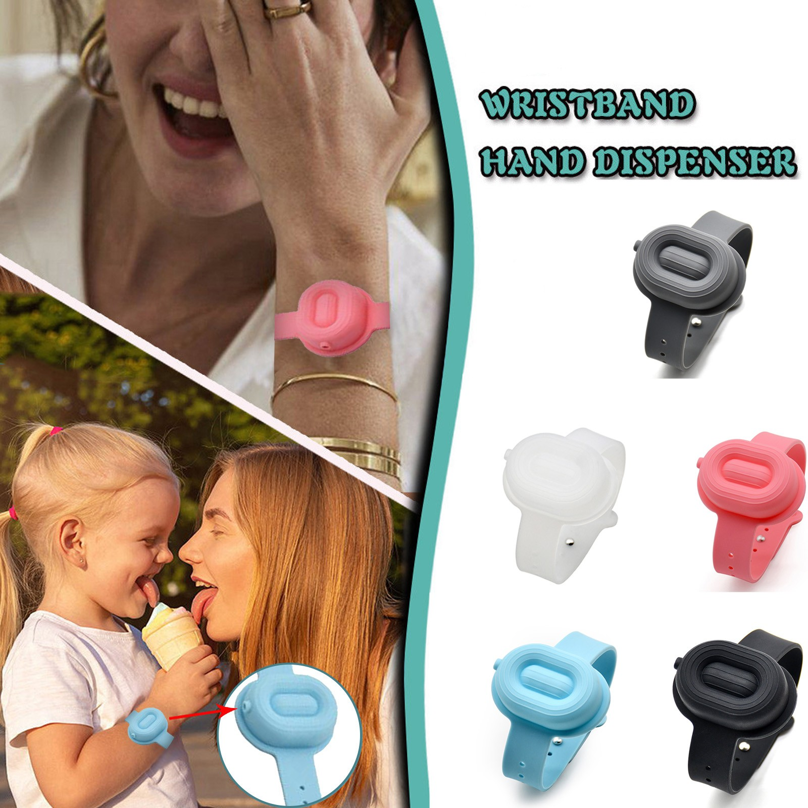hand sanitizer dispensing silicone bracelet Adult child liquid wristband hand dispenser hand washing pulsera de bombas de mano