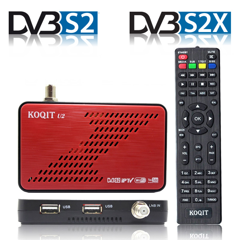 Koqit u2 H 264 DVB-S2X DVB-S2 satellite tv Receiver Satellite internet iPTV wifi Finder DVB S2 iks Decoder SKS Biss VU Youtube