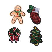 DIY Sequin Patch Christmas tree Man Baby stocking Bowkont iron on clothes patches 3D Stickers Applique Embroidery Hipster(China)