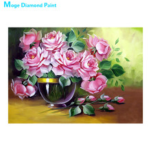 vase flower Moge Diamond Painting Cross Stitch Full Round New DIY 5D home decorative purple rose peony Mosaic Embroidery