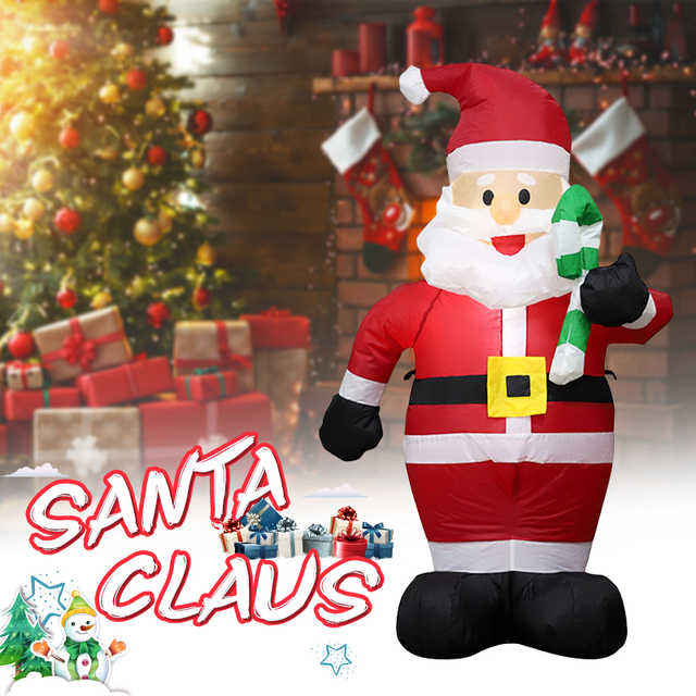 Estátua inflável 2021 decoração da festa de natal hotel inflatables papai noel bonito 120cm ano novo decoração para casa kerst natal