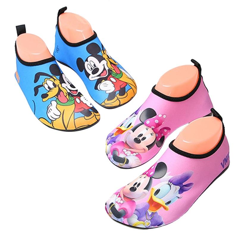 Kids Beach Shoes Cartoon Mickey Minnie Swim Water Shoes For Girls Boys Barefoot Summer Slippers Quick Drying Aqua Socks