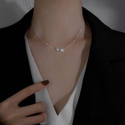 Exquisite Trendy 925 Sterling Silver Leaf Shape Necklace Shiny Zircon Star Pendant Woman Wedding Jewelry Birthday Surprise Gift