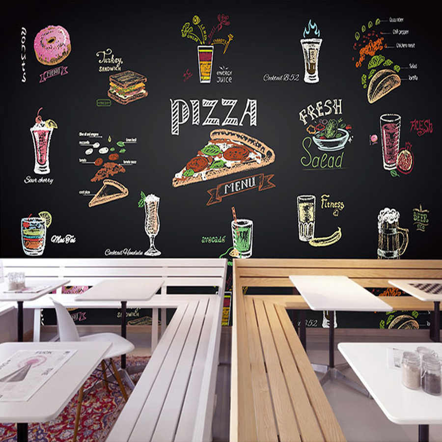 Drop Shipping Custom 3d Hand Painted Chalk Pizza Juice Mural Custom Fast Food Restaurant Colorful Blackboard Wallpaper
