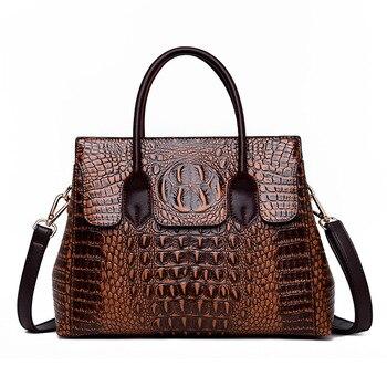 Bolsa feminina de couro genuíno bolsas de crocodilo bolsas de luxo bolsas femininas designer crossbody sacos feminino retro tote bolsas 1