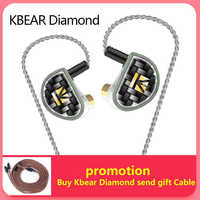 2019 KBEAR Diamond Diamond-Like Carbon (DLC) Coated PET Dynamic Driver In Ear Earphone Earbuds With CNC Metal Shell 2PIN Cable