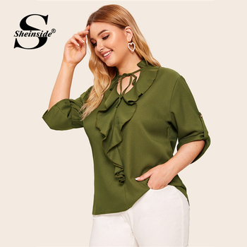 Sheinside Plus Size Casual Army Green Lace Up V Neck Blouse Women 2019 Autumn Roll Up Sleeve Blouses Ladies Ruffle Trim Top