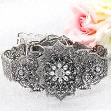 Sunspicems Retro gümüş renk kafkas kemer kadınlar için Rhinestone Metal bel Link zinciri ayarlanabilir uzunluk düğün takısı