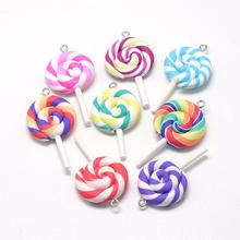 10pcs Lollipop Pendants Charms Handmade Polymer Clay Big Pendant DIY Jewelry Earring Necklace Keychain Making Accessories