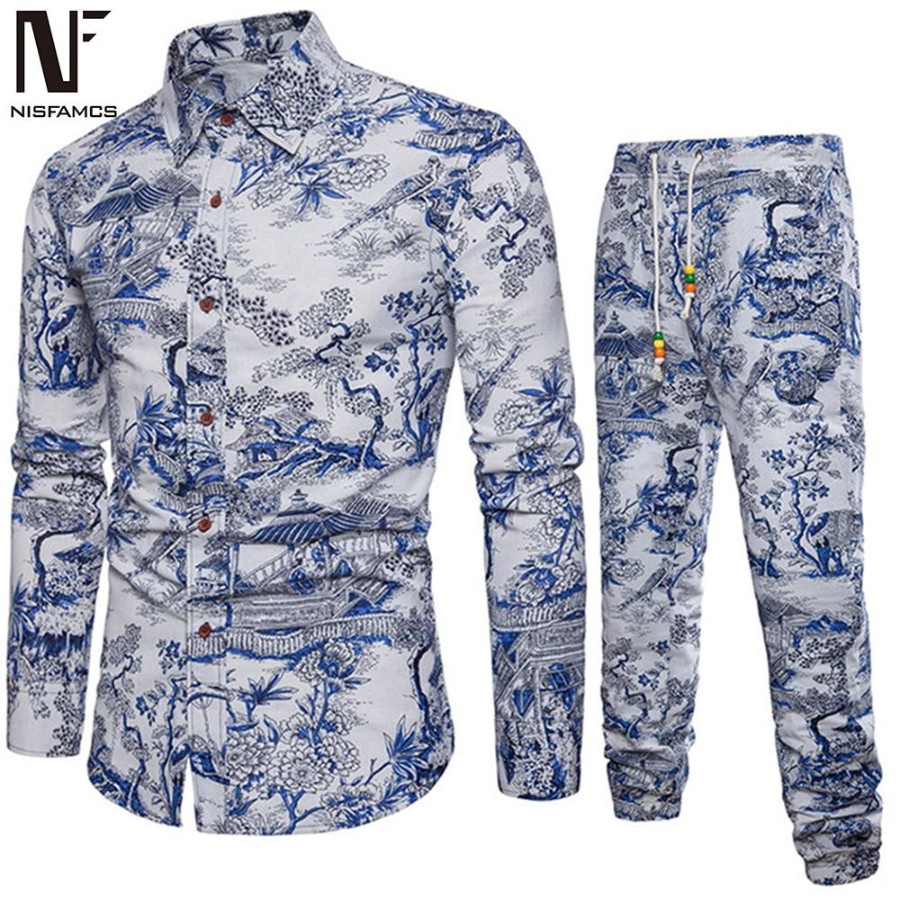 Art Style Handsome Boys Vacation Set Autumn New Shirts Long Sleeve Vintage Floral Printed Men Tracksuits Man Slim Long Parts 5XL