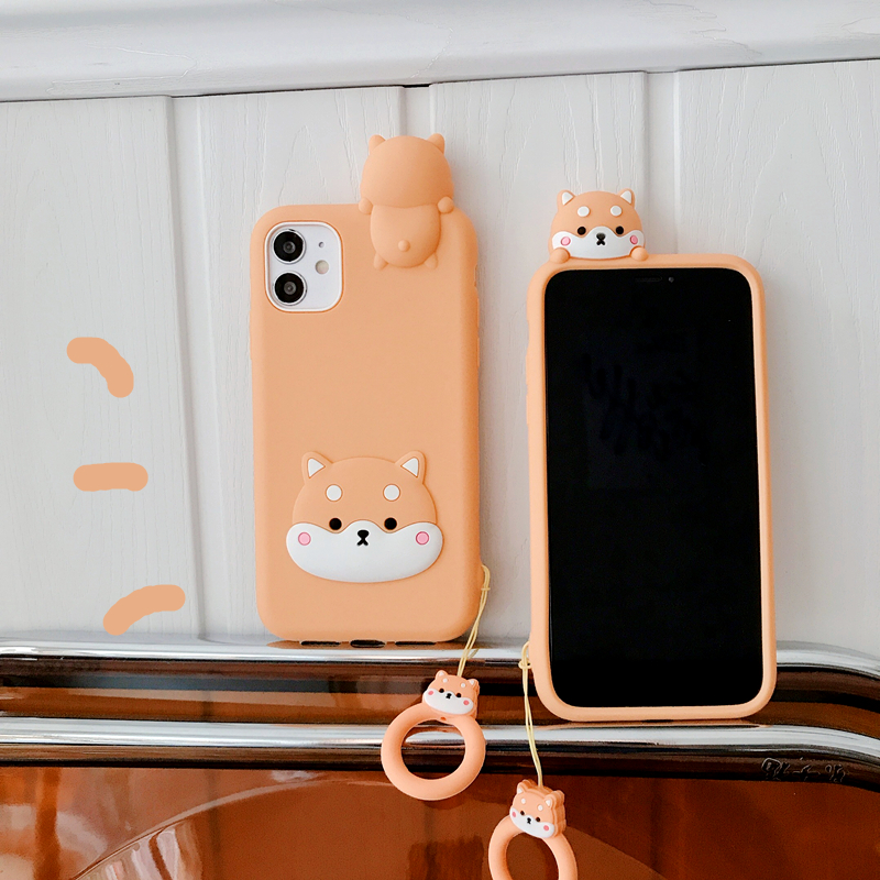 3D Cute Cartoon Shiba Inu Dog Puppy Phone Case For Iphone 12 Mini 11 Pro XS Max X XR Soft Silicone Back Cover With Finger Ring