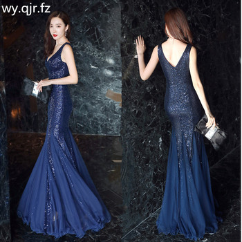 YEY-538Z#Trumpet mermaid Sequins Evening Dresses Tight Sexy dark Blue wine red Green Apricot Black long Bride party dress Girls