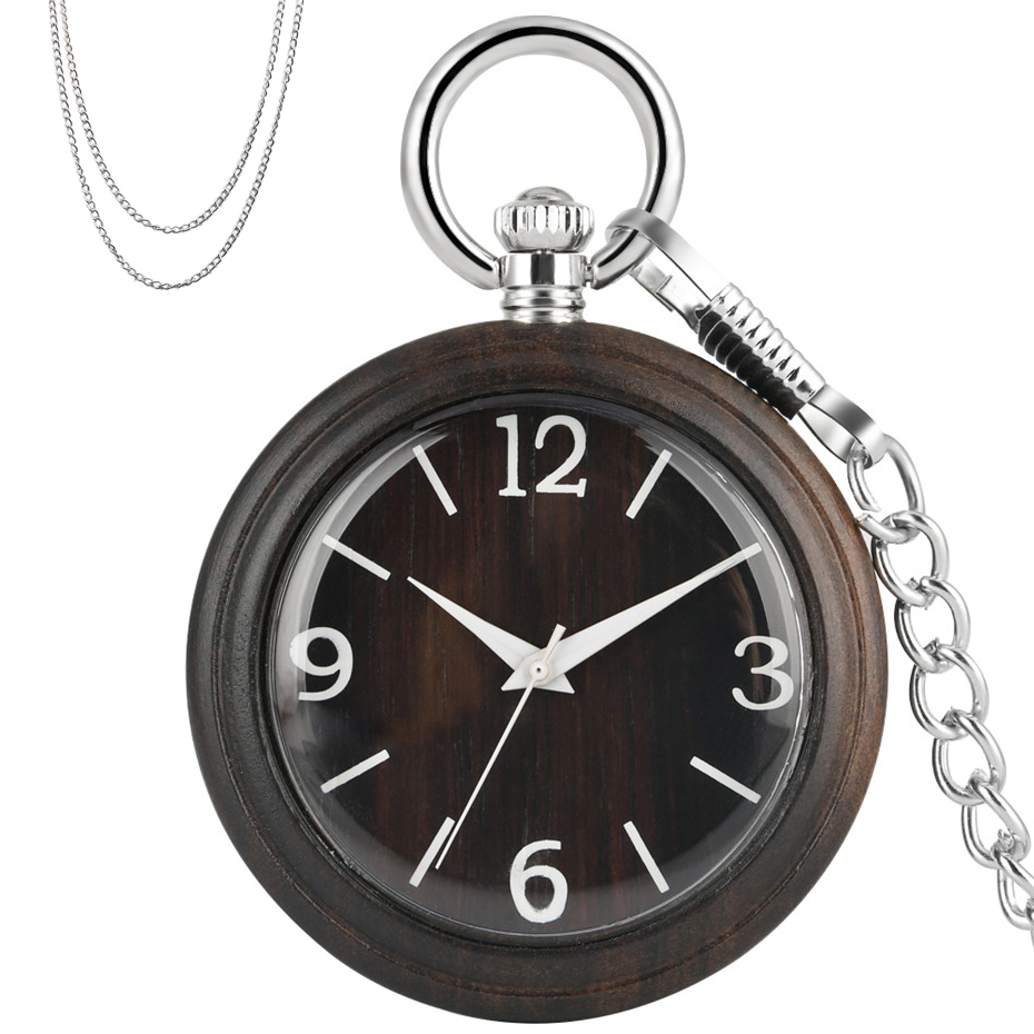 Exquisite Ebony Wood Quartz Pocket Watch Silver Necklace Pocket Chain Retro Fashioned Pendant Watches Luxury Clock Gifts Unisex