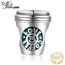 JewelryPalace чашка кофе стерлингового серебра 925 оригинальный бусины подвески для браслет оригинальный изготовление ювелирных изделий