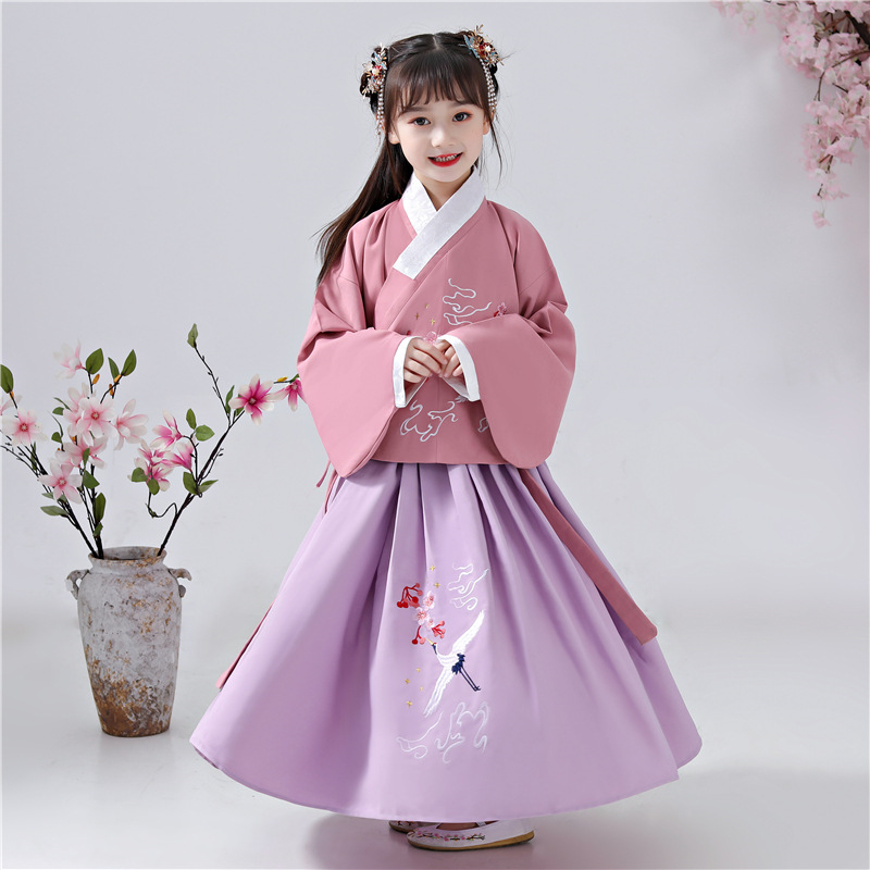 Girl's Han Fu Princess Birthday Dance Perform Dres Embroidery  Dress Children's Campus Vestidos De Festa Chinos Party Dress