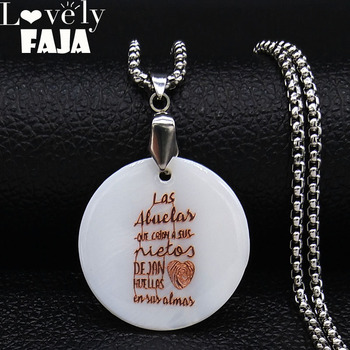 Las Abuelas En y Almas Shell Stainless Steel Necklace for Grandmother Rose Gold Color Necklace Chain Jewerly collares N19582 image