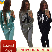 2 piece set women ropa deportiva mujer Round Neck hoodies top and pants Letter print women tracksuit causal women set clothing