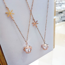 Korean Pop Delicate  Rhinestone Crown Snowflake Pendant Necklace For Women Girls Party Prom Personality Necklace Jewelry delicate alloy geometric necklace for women