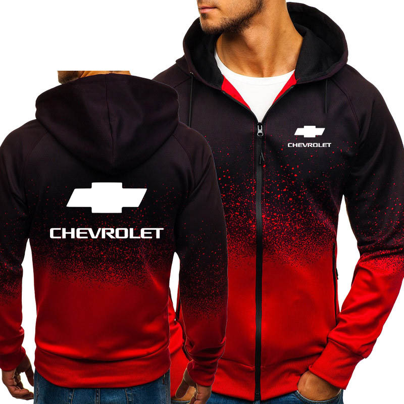 Hoodies Men Chevrolet Car Logo Print Casual HipHop Harajuku Gradient Color Hooded Fleece Sweatshirts Zipper Jacket Man Clothing