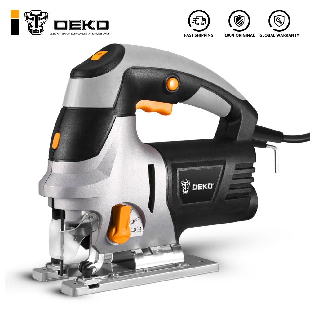 DEKO DKJS80Q1 лобзик, лазерная направляющая, электроинструмент с переменной скоростью, электрическая пила с металлической линейкой, 6 лезвий, шестигранный гаечный ключ|Электрические пилы|   | АлиЭкспресс