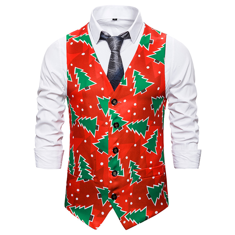 Brand Mens Suit Vest 2019 Fashion Christmas Tree Print Sleeveless Wedding Waistcoat Men Party Club Prom Xmas Gilet Costume Homme