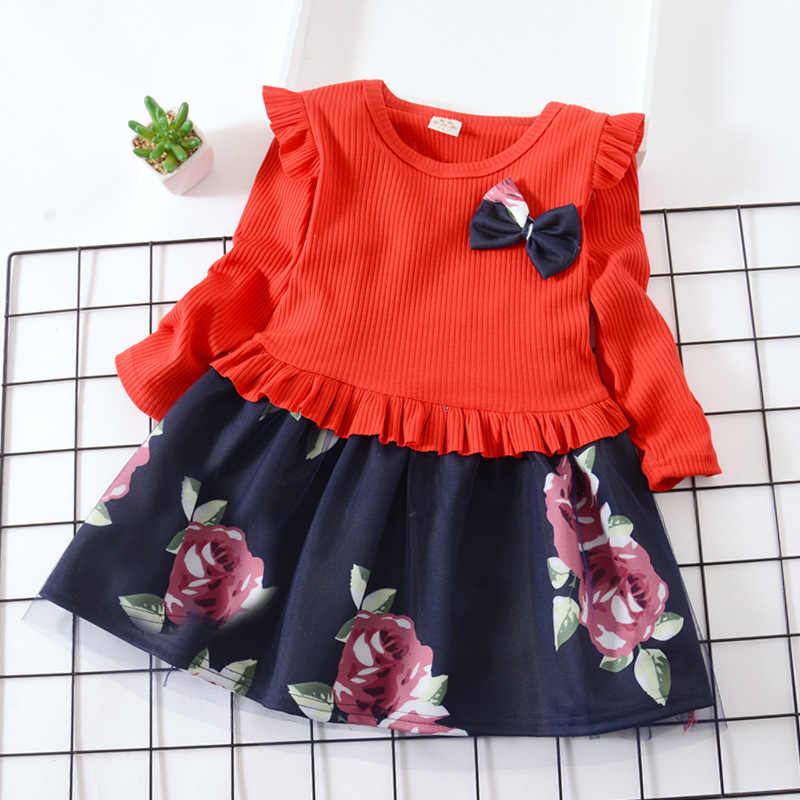 Dzieci jesień sukienka z dzianiny nowe dziewczyny kwiatowa tiulowa księżniczka sukienki dziewczynka Ruffles łuk suknia dzieci wesele ubrania