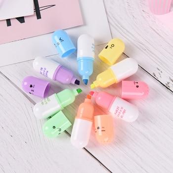 6 pcs/set Cute face Graffiti marker pen Mini Pill shaped highlighter pens Korean stationery school office supplies
