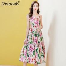 Deloach Summer Women FashionRunway Cotton Dress Sexy Spaghetti Strap Draped Floral Print Female Holiday Midi Dresses vestidos