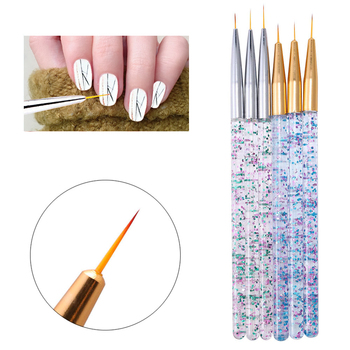3Pcs Acrylic Nail Art Liner Brush Set 3D Tips Manicure French Stripe Ultra-thin Line Drawing Pen UV Gel Brushes Painting Tools