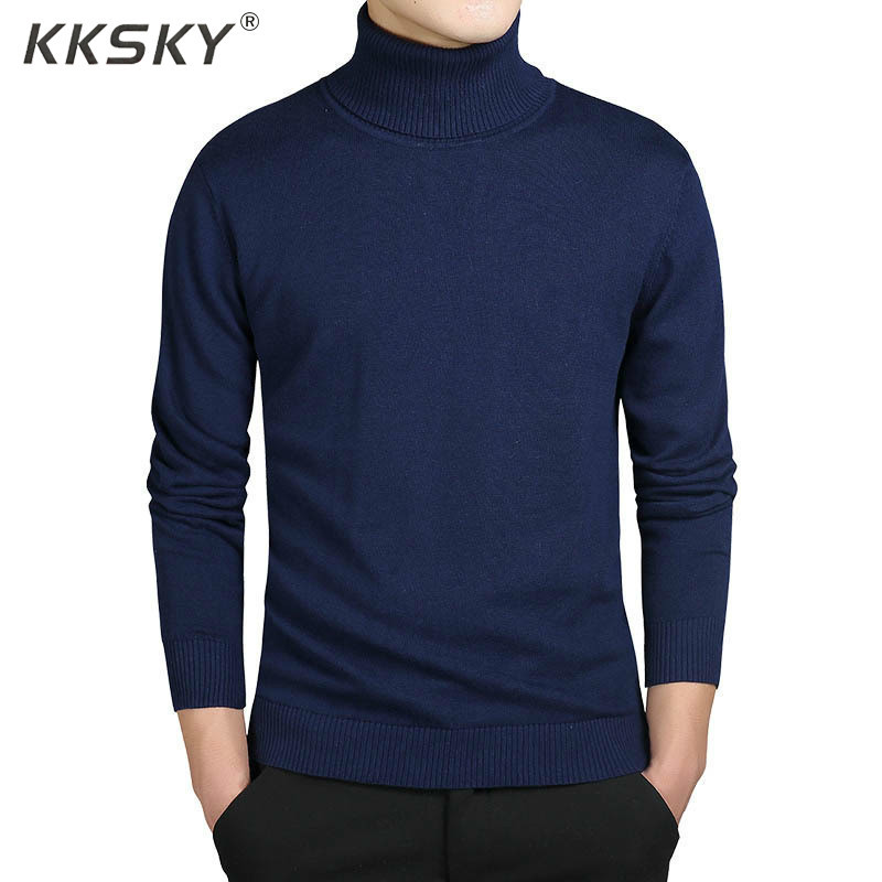Warm Turtleneck Men Pullovers Sweater Autumn Casual Style Pullovers Long Sleeve Pull Homme Solid Slim Fit Knitwear Coats M-3XL