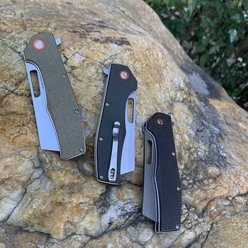 TUNAFIRE folding knife D2 stone wash blade High-end linen (Micarta) outdoor camping hiking self-defense tool pocket knife 6