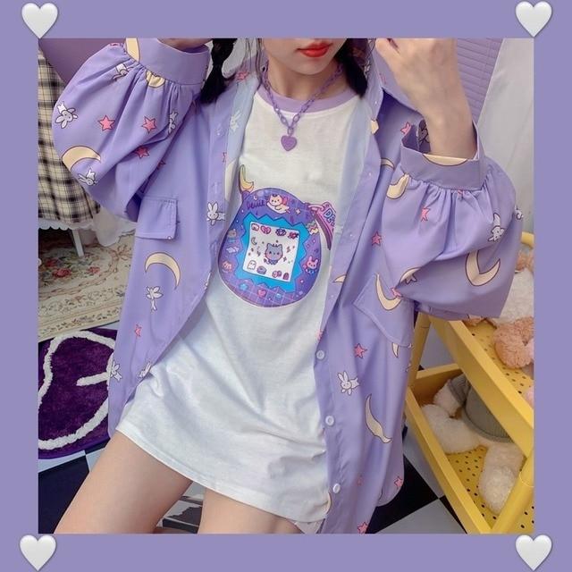 Korean Style Women Shirts Kawaii Autumn Fashion JK Uniform Blouses Women Long Sleeve Cute Loose Button Up Shirt Oversized Tops 3