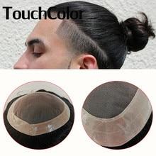 Тонкий моно-полиуретановый мужской парик прочный Сильный узел натуральные человеческие волосы заменяемый мужской t системный блок мужской...