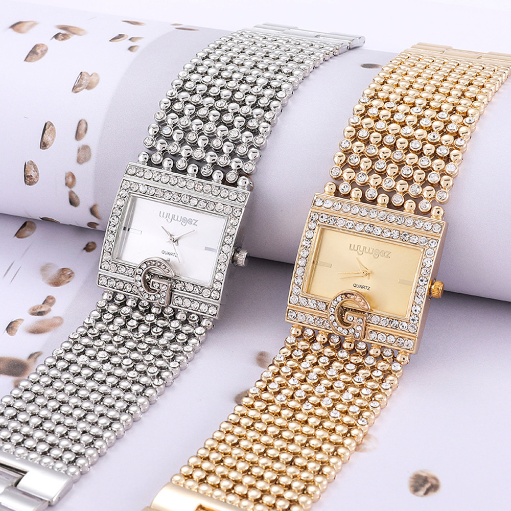 2019  Watches  Brand Luxury Casual Women Round Full Diamond Bracelet Watch Analog Quartz Movement Wrist Watch Dropshipping