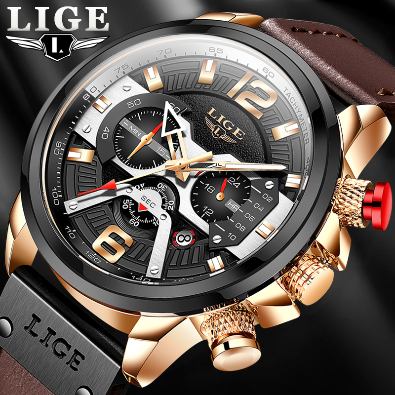 2021 New Mens Watches LIGE Top Brand Leather Chronograph Waterproof Sport Automatic Date Quartz Watch For Men Relogio Masculino