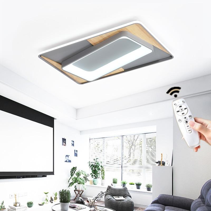 Carré moderne rond rectangulaire Led lustre plafonnier lampe avec télécommande pour salon Loft chambre blanc Gary