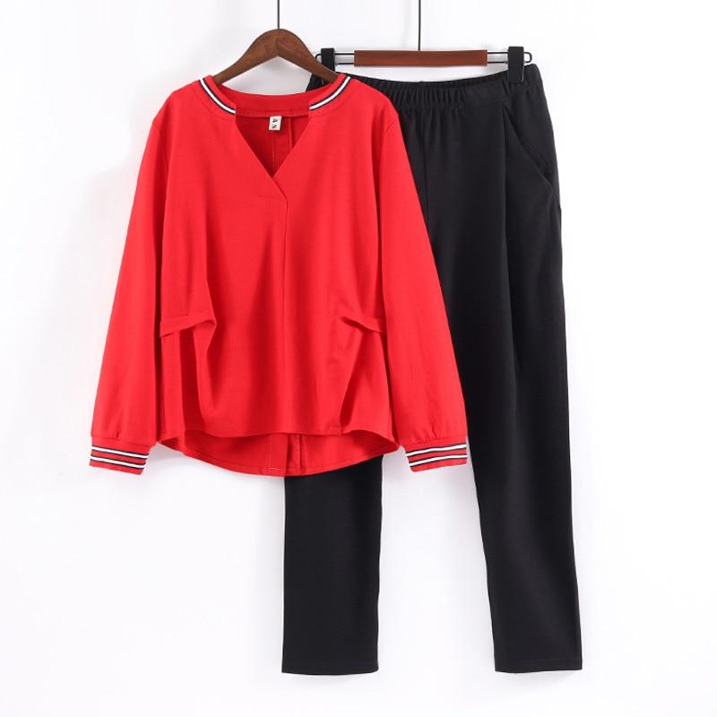 L-4XL Women's Sports Suit Large Plus Size Tracksuit T Shirt+pants Two Piece Set Top And Pant Matching Set Red Black Sportwear