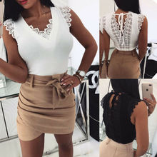 Goocheer arrival Womens Lace Casual Sleeveless Vest Tank Top Backless New Style T Shirt
