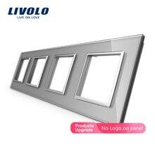 Livolo Luxury White Crystal Glass Switch Panel, 294mm*80mm, EU standard,Quadruple Glass Panel For Wall Socket C7-4SR-11,no logo