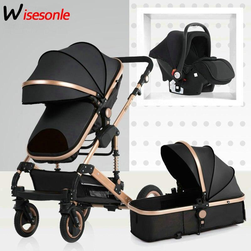 2019 nouveau bébé chariot haute paysage 3 à 1 bébé poussette double face enfants livraison gratuite en quatre saisons en russie
