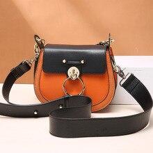 цена на Luxury Women Bag For Designer Brand Saddle Bag Leather Ladies Crossbody Bag Fashion Ring Shoulder Bag Vintage Cowhide Handbag