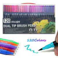 12/36/48/72/100/120 Color Fine Liner Dual Tip Brush Pen Felt-Tip Pen Drawing Painting Watercolor Art Marker Pens School Supplies
