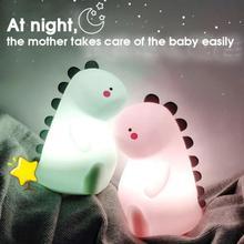 Cute Nursing Lamp Pat Light Dinosaur Silicone Night Light Student Dormitory Study With Sleeping Light Baby Feeding Bedside Light