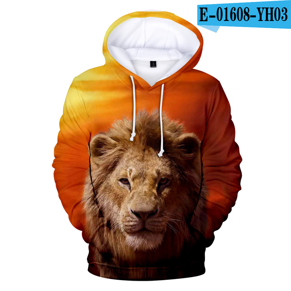 Hot Sale 3D Film Glory Kingdom King The Lion King Simba 3D Cartoon Hoodie Sweatshirt Kids Boy Harajuku Hoodies Children Coats