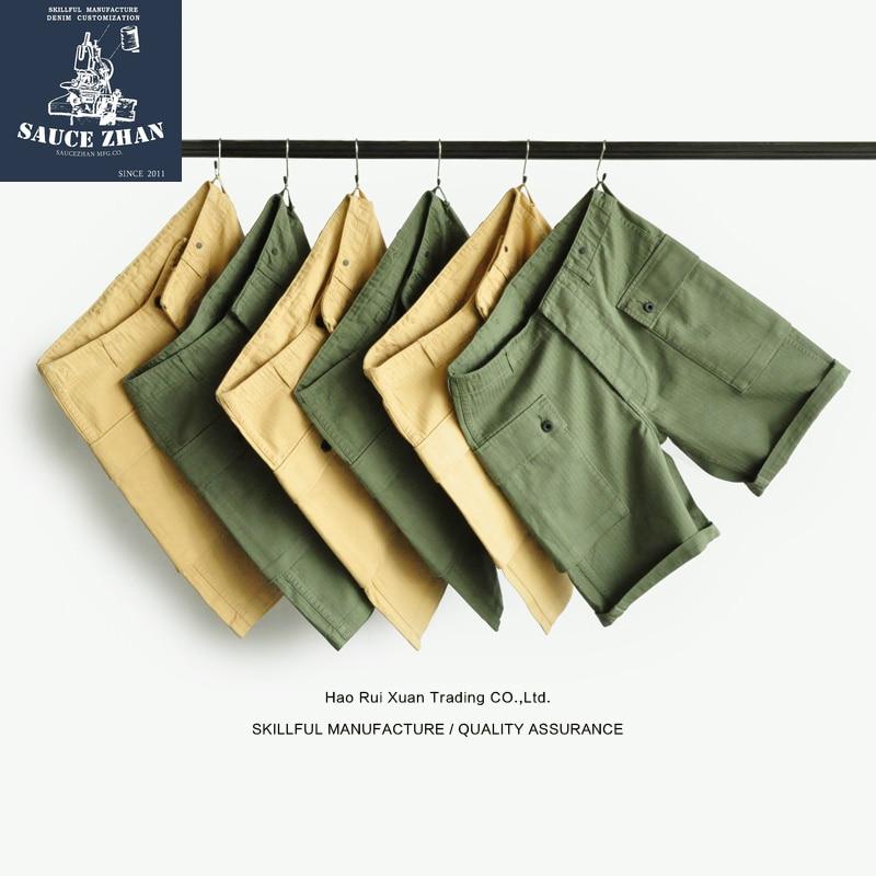 Erkek Kıyafeti'ten Şortlar'de SauceZhan USMC P44 abd ordusu HBT şort VINTAGE rahat şort amerikan Retro askeri şort tulum erkek şort Baker pantol'da  Grup 1
