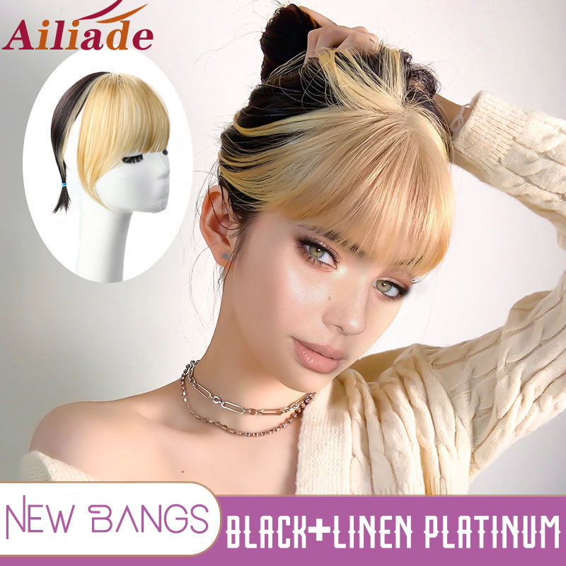 AILIADE 3DTop Hair Pieces With Linen Platinum Air Bangs Clip in Hair Bangs Fringe Invisible Seamless Synthetic Natural Hairpiece